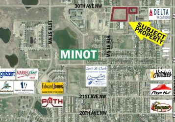aerial view of 2 commercial lots for sale in Minot, ND