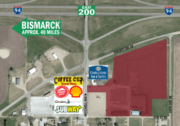 land for sale in Steele, ND, just south of Interstate 94 with excellent visibility