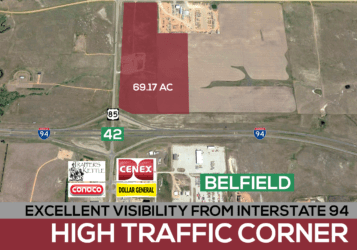 development land along Interstate 94 and Highway 85 just north of Belfield, ND