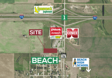 3.45 acre lot for sale in Beach, ND south of Interstate 94