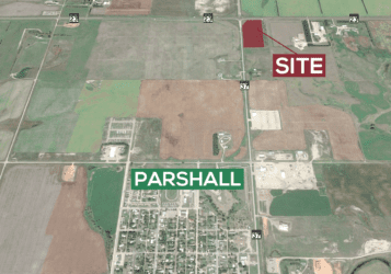 14.24 acres of land for sale North of Parshall, ND on the corner of ND highway 37 & ND highway 23 in Mountrail County