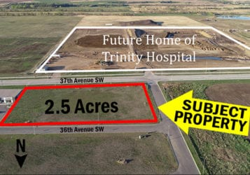 map showing 2.5 acres of land in Minot