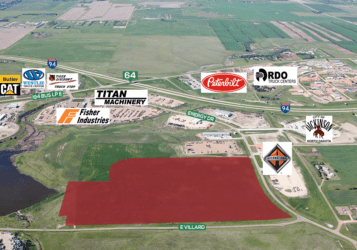 44.6 Acres of Dickinson Industrial land aerial photo