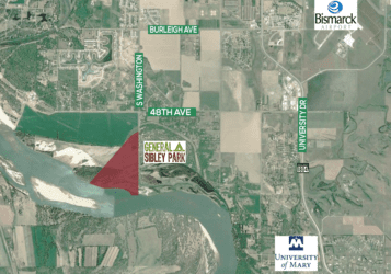 Commercial land with Missouri River frontage in South Bismarck