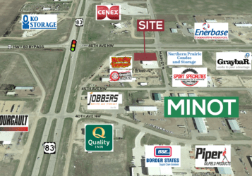 .88 acre lot for sale in North Minot next to Memory Fireworks
