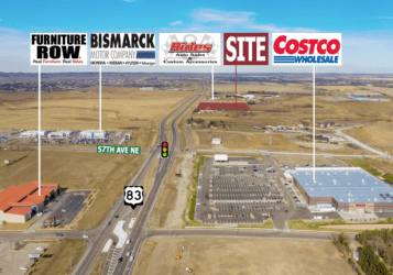 development lot highlighted along Highway 83 in Bismarck, ND north of Costco