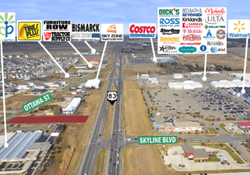 aerial photo of North Bismarck lot by Plant Perfect & Walmart