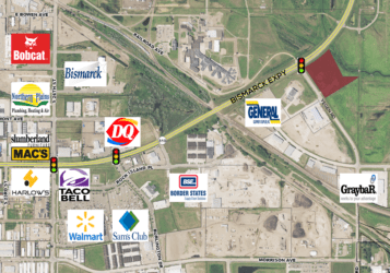 Highlighted lot for sale in South Bismarck, ND on the corner of Bismarck Expressway and Yegen Road